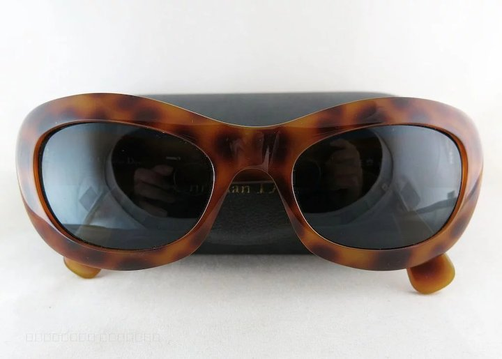 933309f1b20 1980 s Vintage Christian Dior  2974 Simulated Tortoise Sunglasses With  Original Case Rare Model