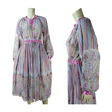 1970's Vintage Gauzy Printed Cotton Indian Dress Tagged Size Large - Red Tag Sale Item