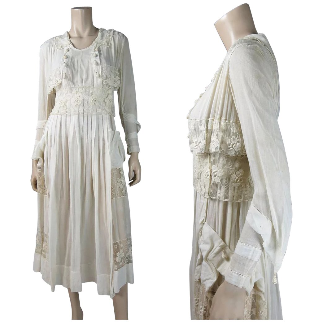 Airy Antique Circa 1910 Edwardian Cotton And Lace Tea Dress With ...