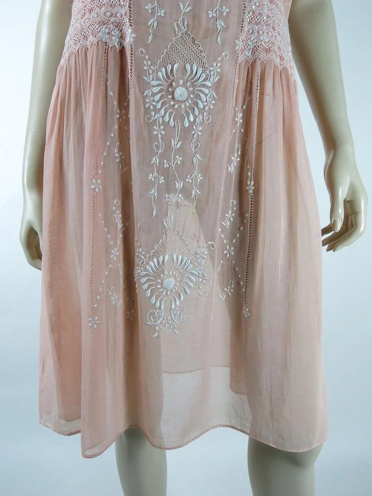 1920's Vintage Hungarian Embroidered And Smocked Pink Cotton Peasant Dress