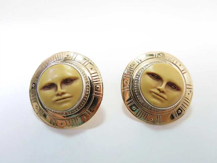 Vintage Tabra Mixed Metals Moon Face Post Earrings With Sterling Silver And  14K Gold