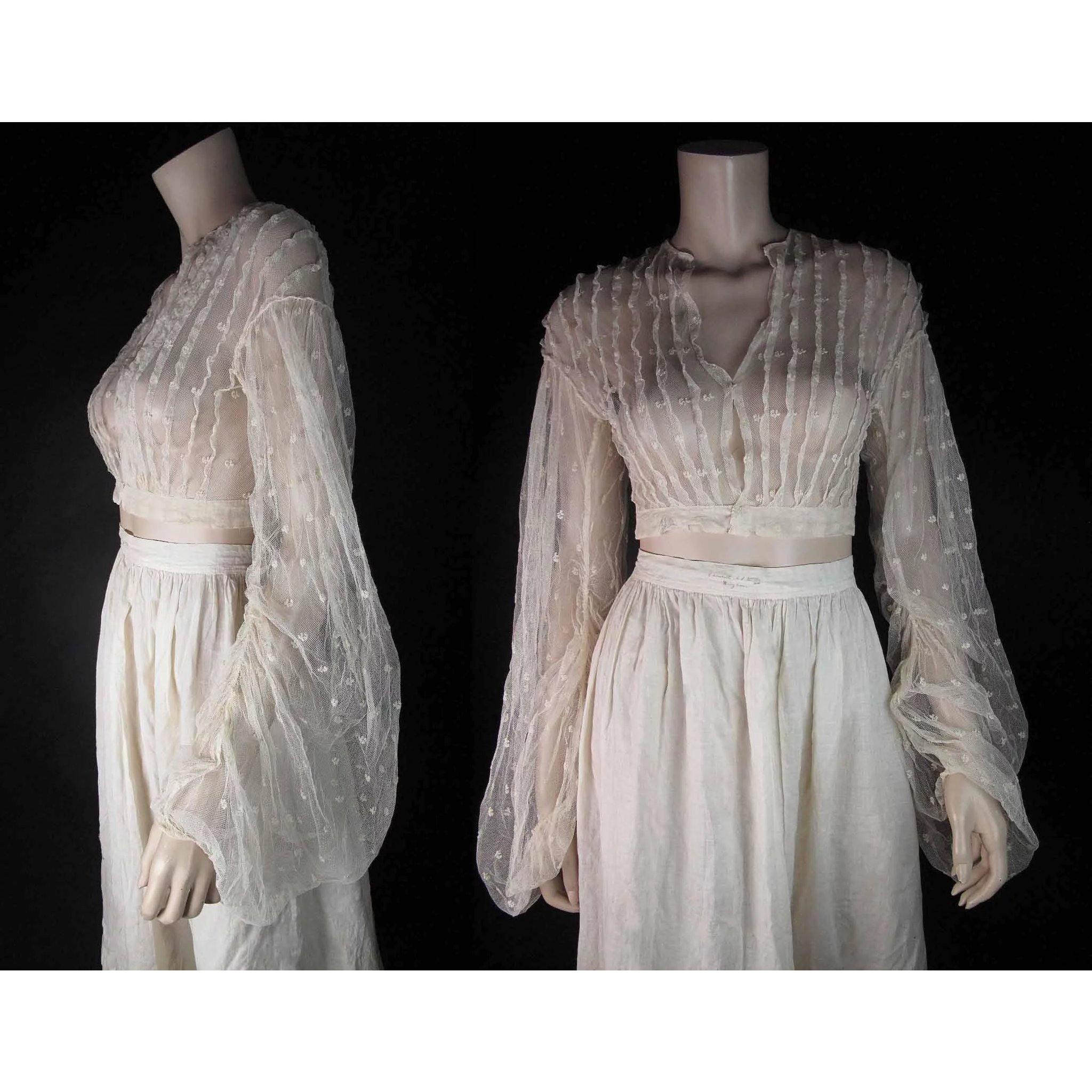 0a1a624f9be Scarce Antique 1860 s Victorian Sheer Lace Overbodice With Dramatic    Marzilli Vintage