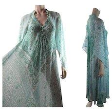 Romantic 1970's Vintage Adini Gauzy Cotton & Metallic Angel Sleeve Dress