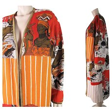 Distinctive 1980's Vintage Molato Graphic Figural African Print Coat