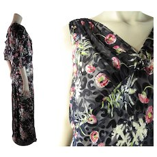 1930's Vintage Printed And Flocked Silk Chiffon Evening Dress With Jacket