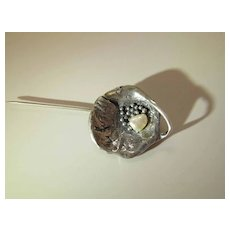 Fine Arts & Crafts Sterling Silver And Freshwater Pearl Stickpin / Lapel Pin