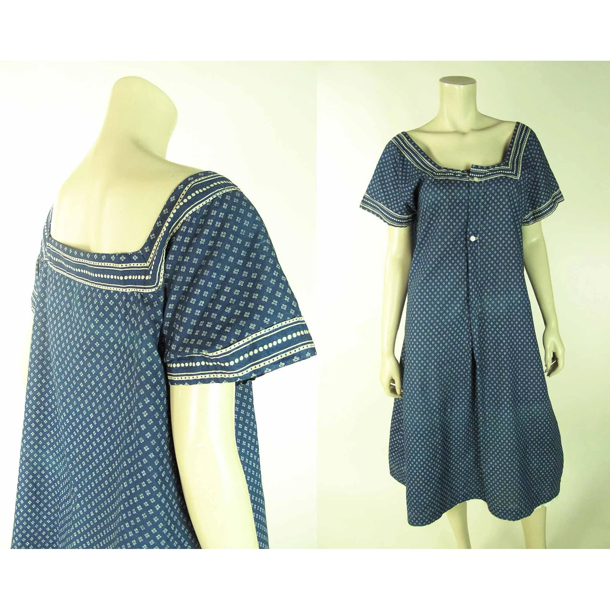 9fb6267f381 Pretty And Very Wearable Antique Edwardian Blue Calico Pinafore Dress    Marzilli Vintage