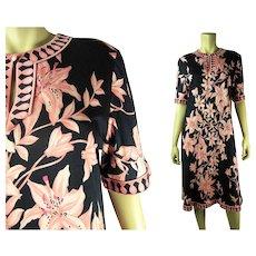 1970's Vintage Averardo - Bessi Orchid Print Jersey Dress