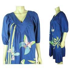 Whimsical 1970's Vintage Ramona Rull Applique Dress