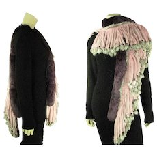 Extravagant Vintage Multi-Color Dyed Rabbit Stole With Beaded Fringe