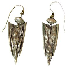 Jazzy Vintage Modernist Sterling Silver Arrowhead Earrings With French Wires