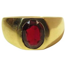 Men's Heavy 14K Yellow Gold Oval 2 Carat Ruby Ring Size 12 ON LAYAWAY
