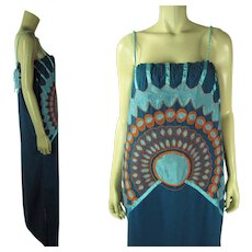 Graphic 1970's Embroidered Mexican Sleeveless Dress With Opus 1 By Diana Label