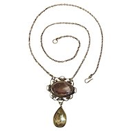 Elegant Edwardian Silver, Amethyst And Rock Crystal Pendant Necklace