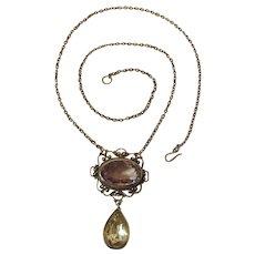 Elegant Edwardian Silver, Amethyst And Rock Crystal Pendant Necklace