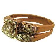 Vintage Retro Era 14K Gold Diamond Wedding Ring Set
