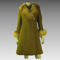 Stylish 1960's Vintage Bouclé Swing Coat With Red Fox Fur Collar And Cuffs
