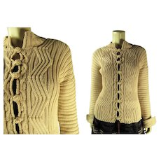 Lovely Vintage Yves Saint Laurent Rive Gauche Creamy Pink Cardigan Sweater