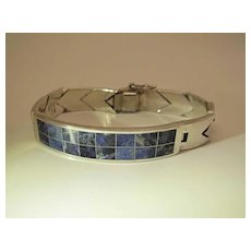 Chunky Vintage Chevon Pattern Sterling Silver And Inlaid Sodalite Bracelet