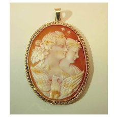 Fine Antique Night And Day / Eos And Selene Cameo Pendant In 14K Yellow Gold
