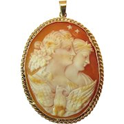 Fine antique jewelry cameo on ruby lane fine antique night and day eos and selene cameo pendant in 14k yellow gold aloadofball Choice Image