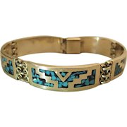 Vintage Mexican Sterling Silver 8-Inch Bracelet With Turquoise Aggregate Inlay