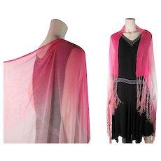 Gossamer 1920's Pink Ombré Silk Chiffon Shawl With Fringe - Red Tag Sale Item