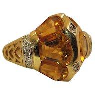 Dramatic 14k Yellow And White Gold Citrine And Diamond Unisex Ring