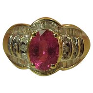 Vintage 14k Gold Fine Pink Rubellite Tourmaline Ring With 1.1 Carats Of Diamonds