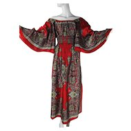 Graceful 1970's Smocked Angel Sleeve Dress With Great Bandana Print