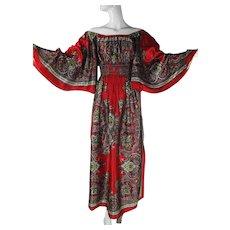 Graceful 1970's Smocked Angel Sleeve Dress With Great Bandana Print