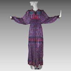 1970's Vintage Sandy Starkman Gauzy India Print Dress With I Magnin Label