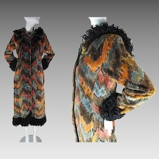 1970's Russian Style Hooded Tapestry Coat With Faux Curly Lamb