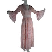 1970's Pink Lace & Gauzy Cotton Dress With Bell Sleeves