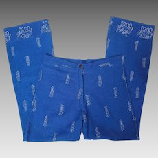 1960's Vintage Blue Cotton Bellbottom Pants With Silver Metallic Stenciled Indian Pattern