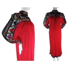 1970's Vintage Leonard Printed Jersey Maxi Dress In Larger Size