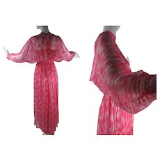 1970's French Printed Silk Chiffon Dress With Ann Marks Paris Label