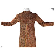 1960's India Imports Rhode Island Printed Cotton Wrap Dress