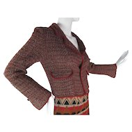 1980's Vintage Chanel Gray And Cranberry Cropped Boucle Jacket