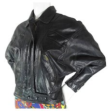1980's Vintage Ladies' Cropped Black Leather Batwing Sleeve Jacket