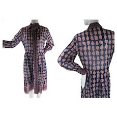 1970's Vintage Sheer India Print Cotton Shirt Dress