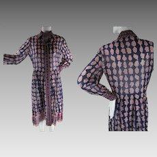 1970's Vintage Sheer India Print Cotton Shirt Dress