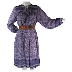 1970's Vintage Purple Cotton Gauze India Print Dress