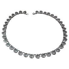 Antique Edwardian Sterling Silver And Paste Riviere Necklace