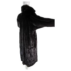 Luscious Vintage Black Mink Dolman Sleeve Coat In Larger Size
