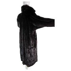 Luscious Vintage Black Mink Dolman Sleeve Coat In Larger Size