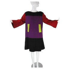 Smart 1980's Vintage Christian LaCroix Color Block Dress
