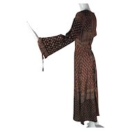 Romantic 1960's Made In India Printed Cotton Dress With Empire Waist And Drawstrings