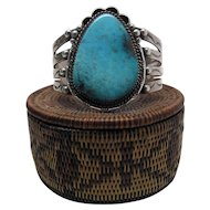 Vintage Teddy Goodluck Navajo Silver And 10 Carat Turquoise Cuff Bracelet