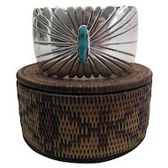 Dramatic Vintage Navajo Silver And Turquoise Cuff Bracelet